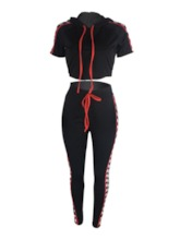 Casual Color Block Pullover Women's Two Piece Sets
