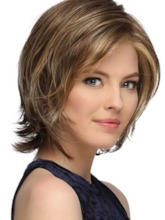 Short Softly Layered Bob Hairstyles Women's Lace Front Cap Wigs Straight 100% Human air Wigs 12Inch