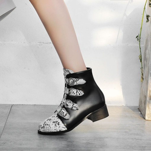 Side Zipper Block Heel Round Toe Patchwork Booties