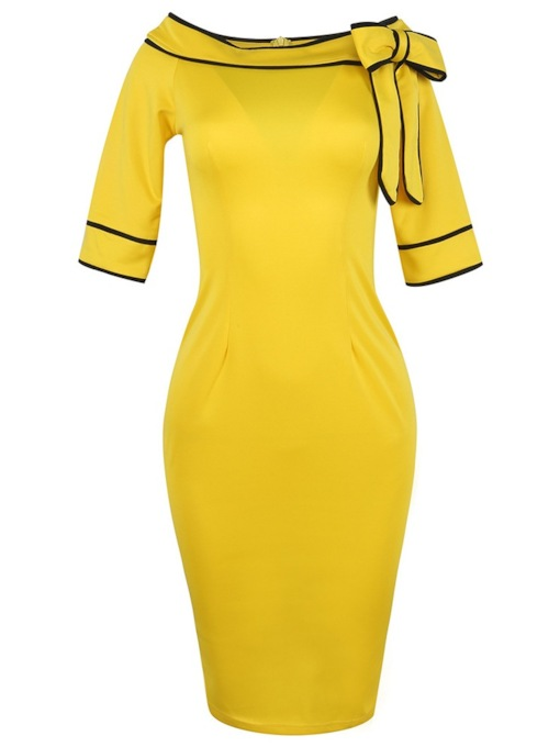Short Sleeve Mid-Calf Bowknot Pullover Women's Sheath Dress