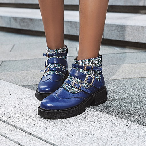 Round Toe Patchwork Side Zipper Block Heel Ankle Boots