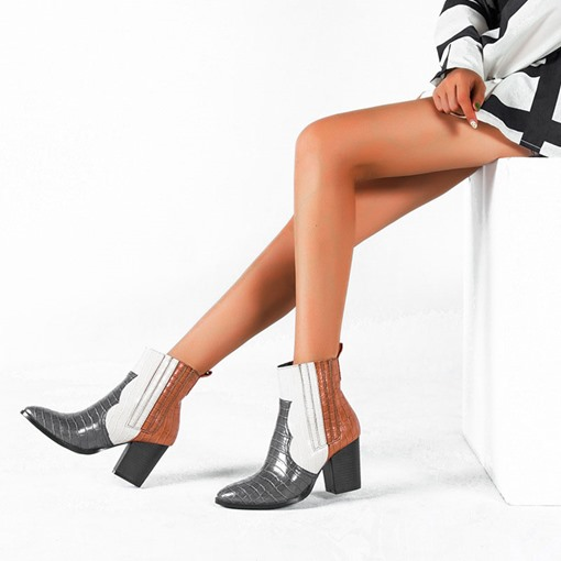 Round Toe Back Zip Chunky Heel Color Block Ankle Boots