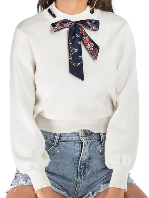 Bowknot Round Neck Women's Sweater