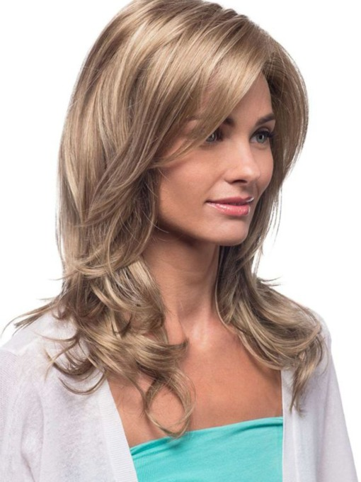 Women's Blonde Color Long Length Natural Looking Loose Wave Human Hair Lace Front Cap Wigs 22Inch