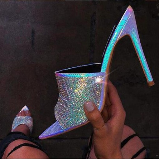 Slip-On Stiletto Heel Rhinestone Sandals