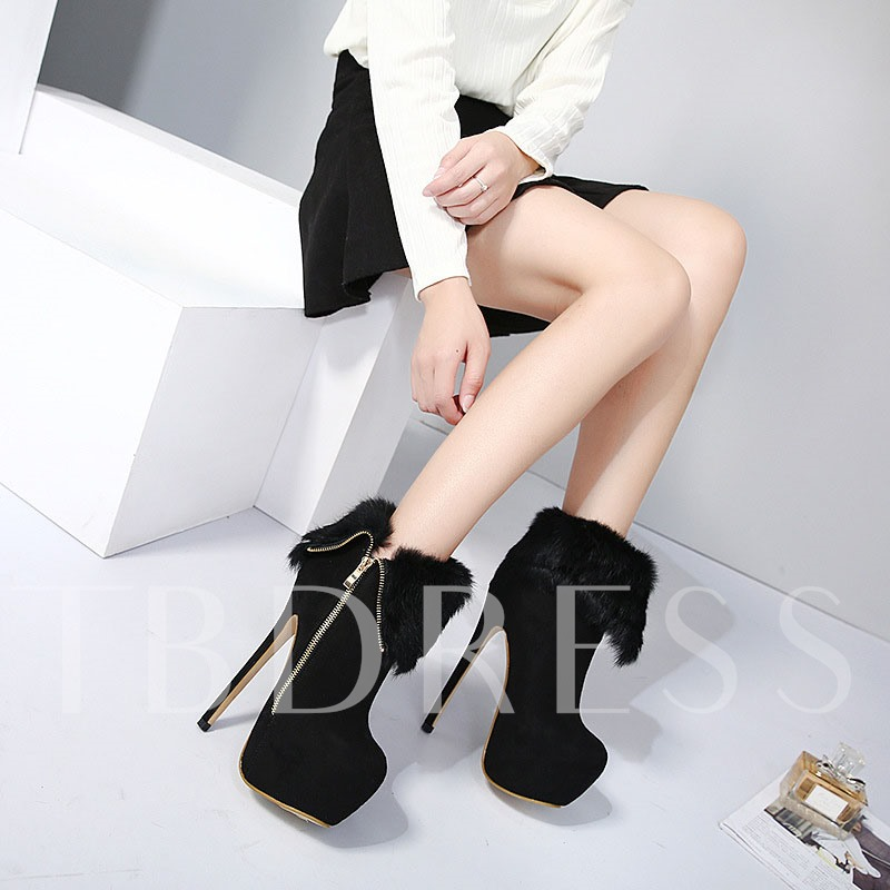 Round Toe Stiletto Heel Side Zipper Short Floss Ankle Boots