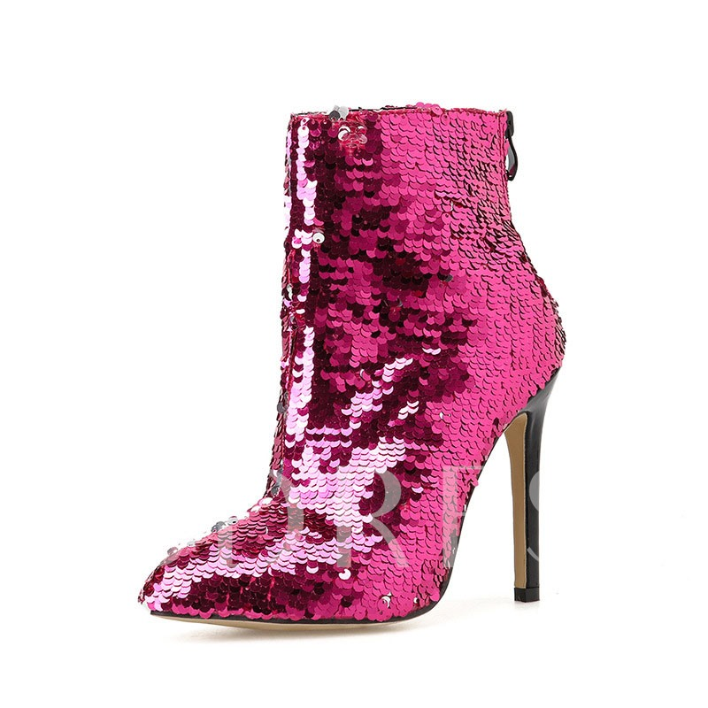 Sequin Pointed Toe Stiletto Heel Back Zip Prom Boots