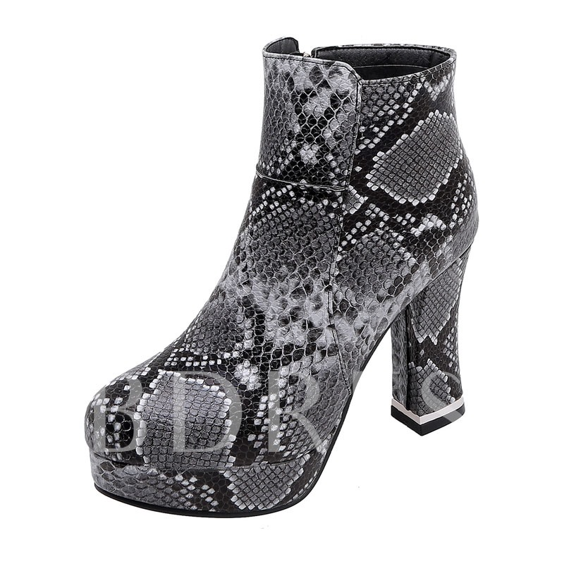 Round Toe Chunky Heel Side Zipper Serpentine Ankle Boots