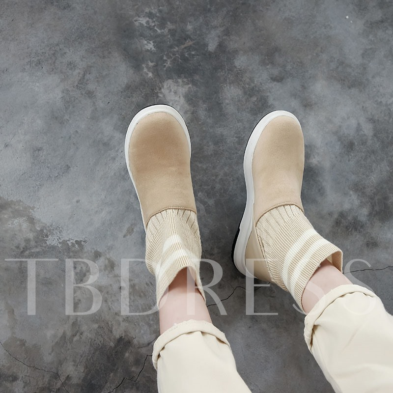 Slip-On Round Toe Color Block Lightweight Ankle Boots