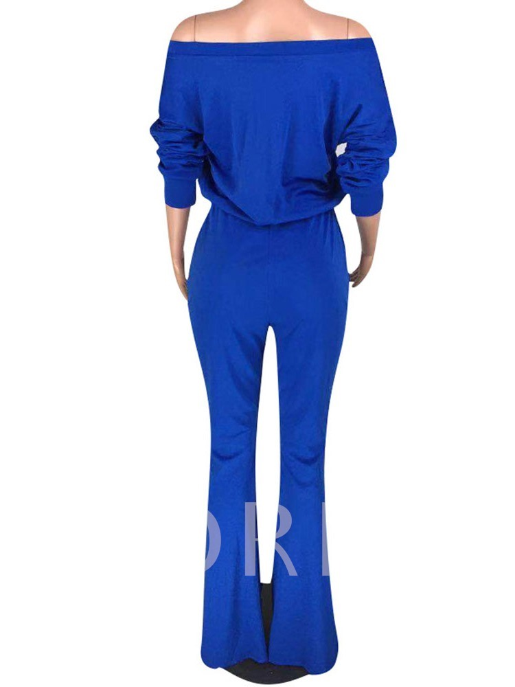 Casual Full Length Bellbottoms Lace-Up Women's Jumpsuit