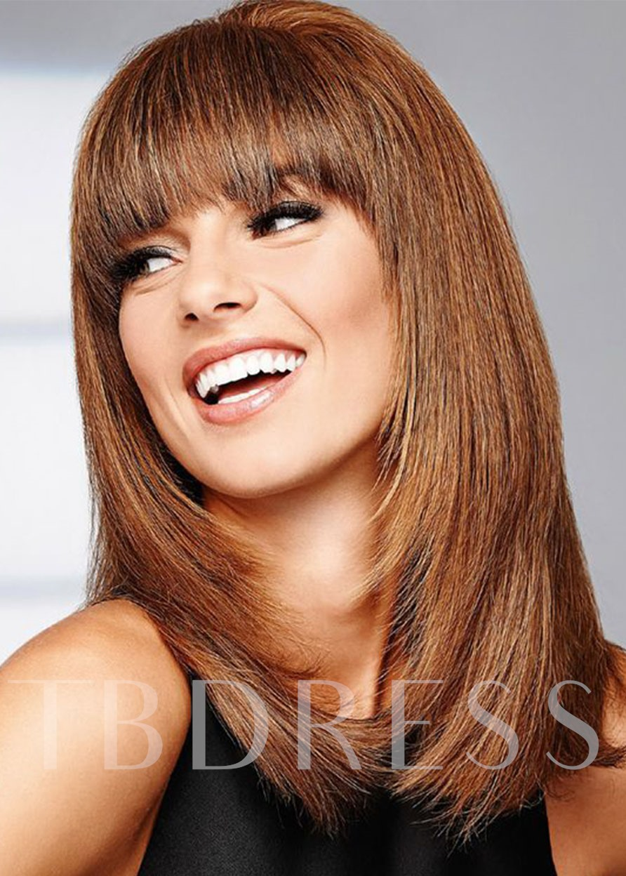 Long Length Bob Hairstyles Women's Brown Color Straight Synthetic Hair Wigs With Bangs Capless Wigs 20Inch
