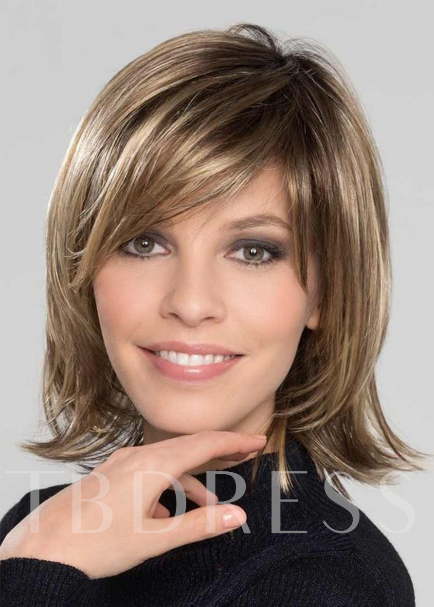 Bob Medium Hairstyles Women's Sweet Shaggy Straight Synthetic Hair With Bangs Capless Wigs 12 Inches