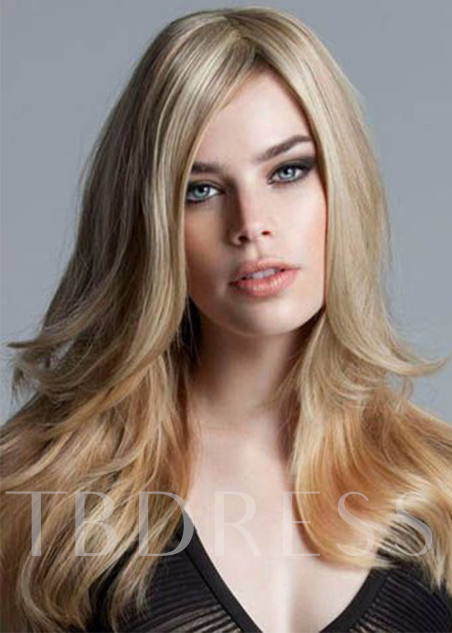 Women's Long Length Hairstyles Natural Gold Blonde Color Straight Synthetic Hair Capless Wigs 24Inch