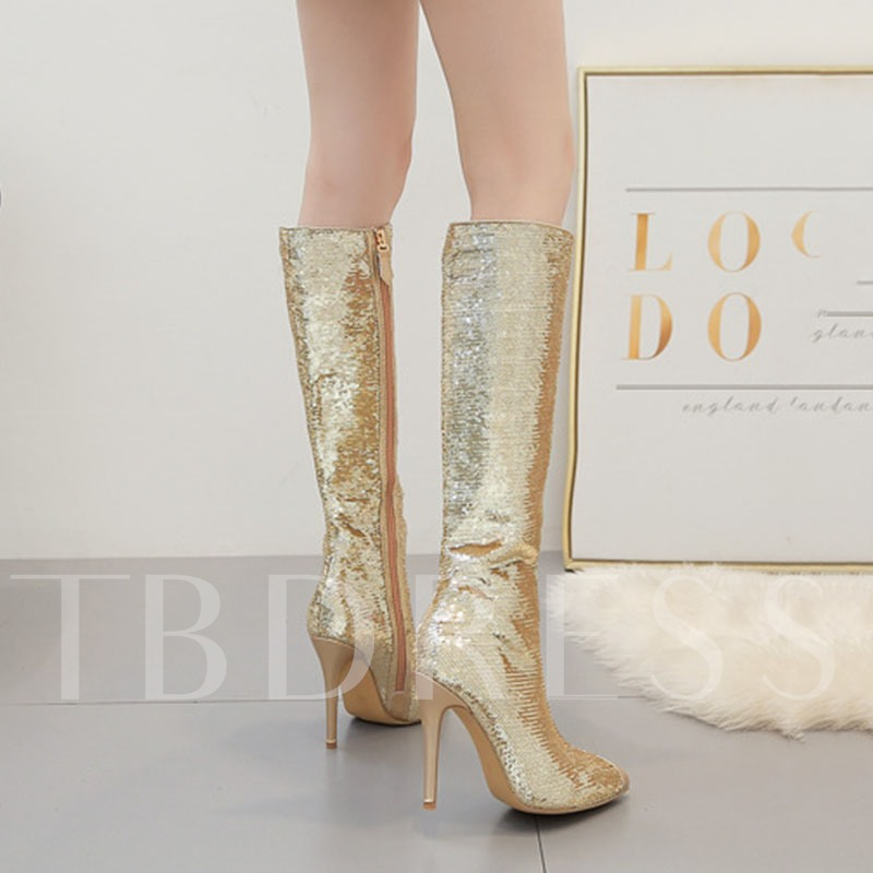 Sequin Pointed Toe Stiletto Heel Side Zipper Knee High Boots