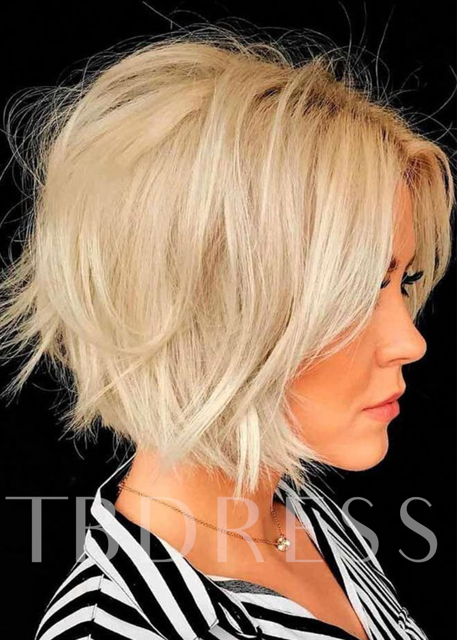 Short Bob Layered Hairstyles Women's 613 Blonde Straight Synthetic Hair Capless Wigs 10 Inch