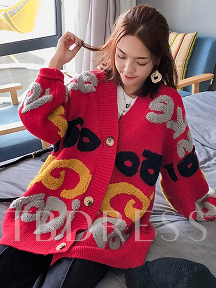 Single-Breasted Thick Button Loose Women's Sweater
