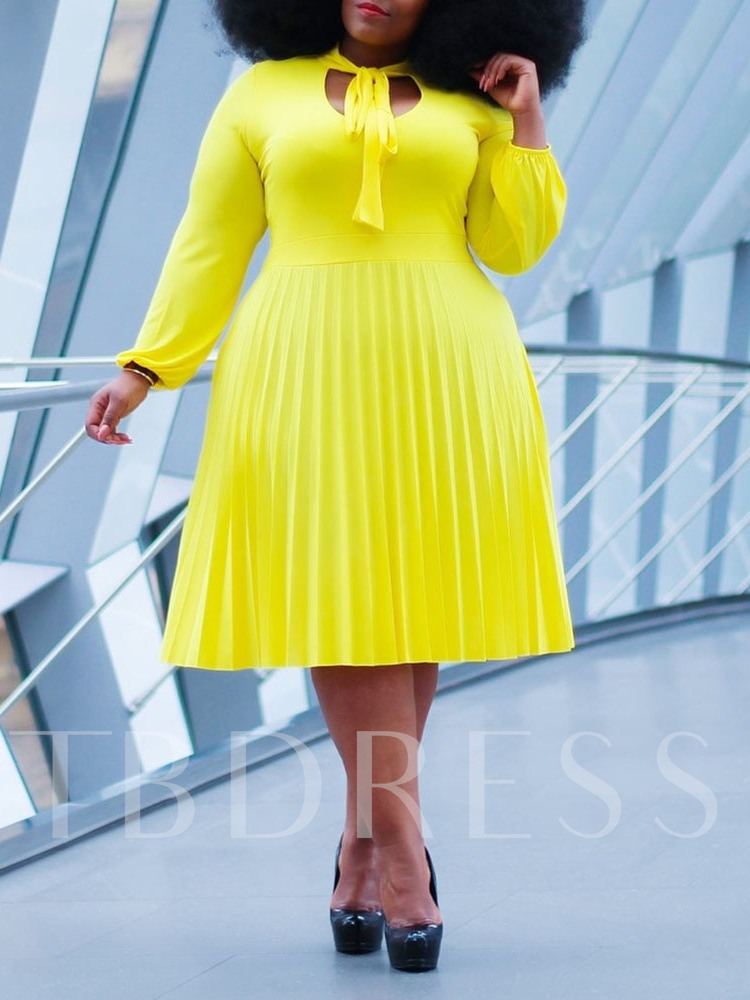 Plus Size Mid-Calf Lace-Up Nine Points Sleeve Bow Collar Pullover Women's Dress