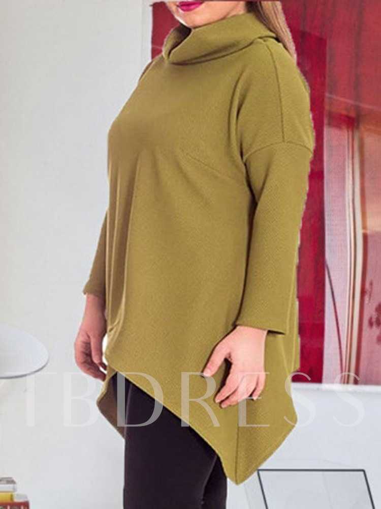 Plus Size Asymmetric Stand Collar Women's Sweater