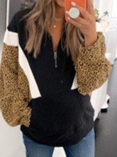 Leopard Zipper Regular Lapel Women's Hoodie