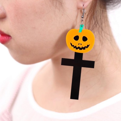 Halloween Color Block European Party Drop Earrings