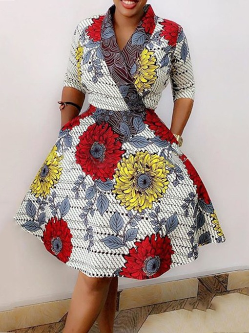 Print V-Neck Knee-Length Three-Quarter Sleeve Standard-Waist Women's Day Dress