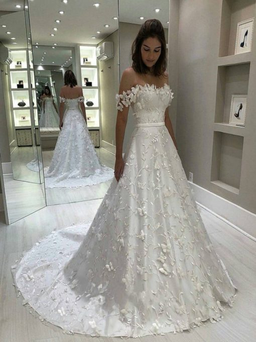 Off the Shoulder Lace Appliques Hall Wedding Dress 2019