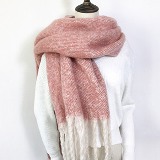 Tassel Acrylic Rectangle Brim Scarf Plain Scarves