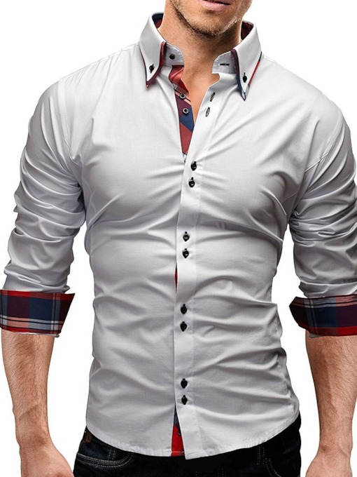 Color Block European Lapel Button Single-Breasted Men's Shirt