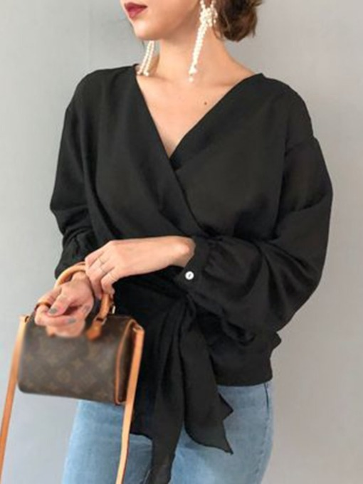 Plain V-Neck Standard Long Sleeve Women's Blouse