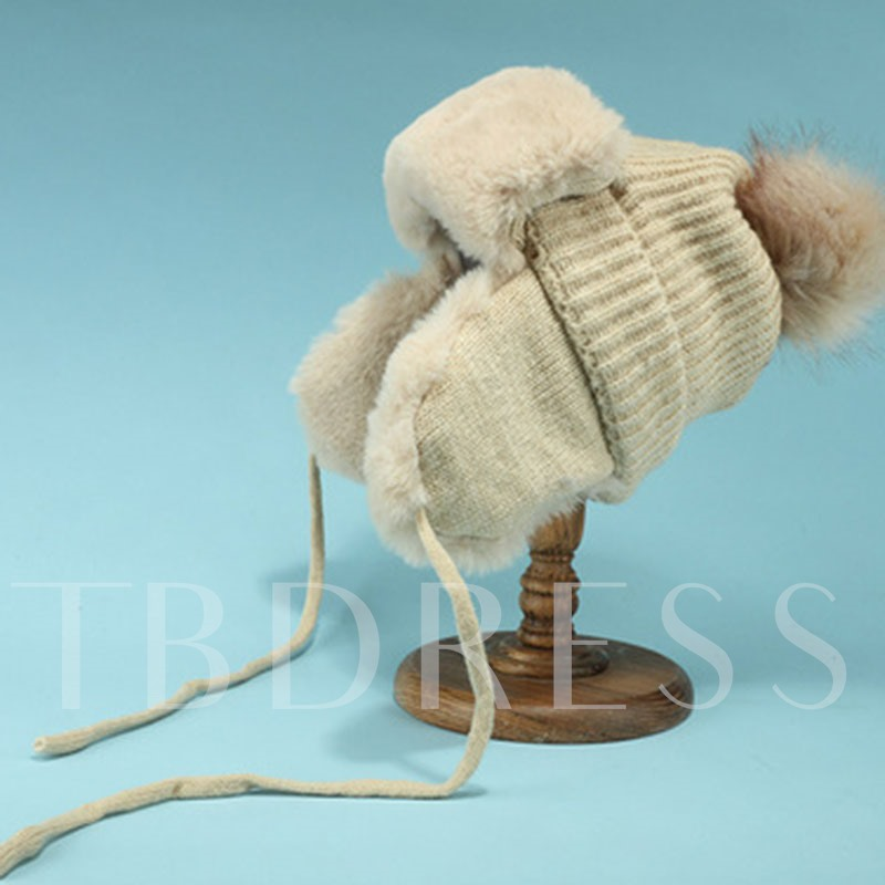 Rolled Brim Pompon Woolen Yarn Plain Hats
