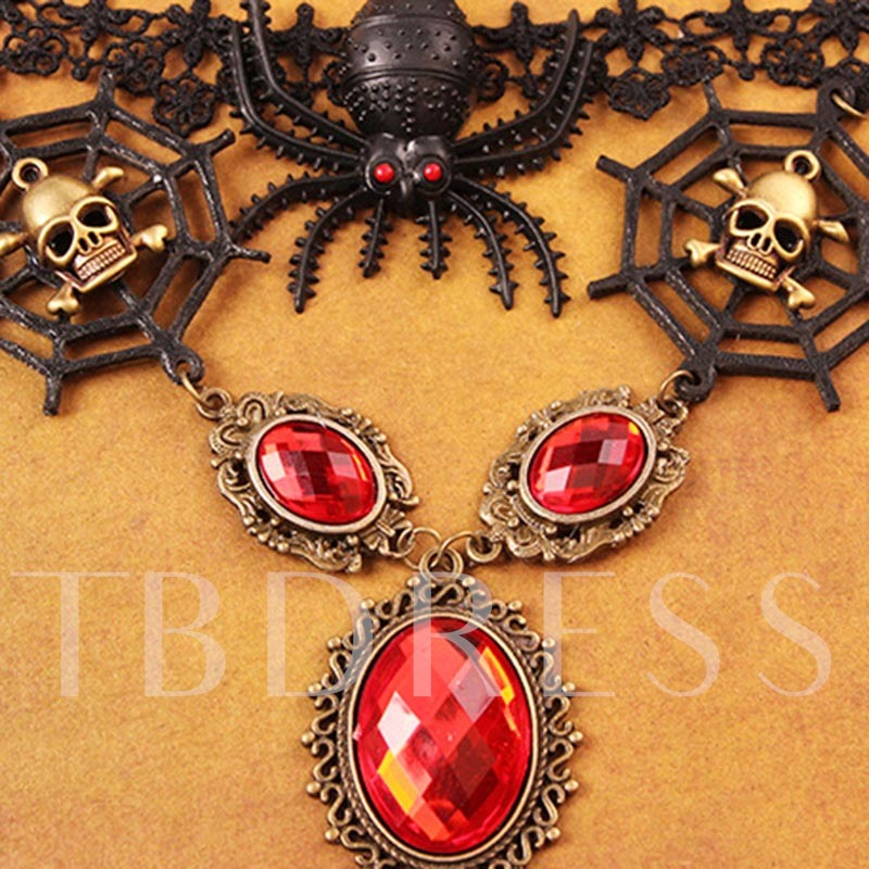 Halloween Lace Vintage Skull Female Necklaces