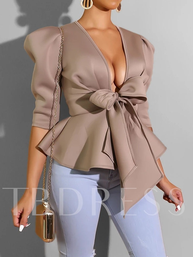 Princess Sleeve V-Neck Plain Bowknot Three-Quarter Sleeve Women's Blouse
