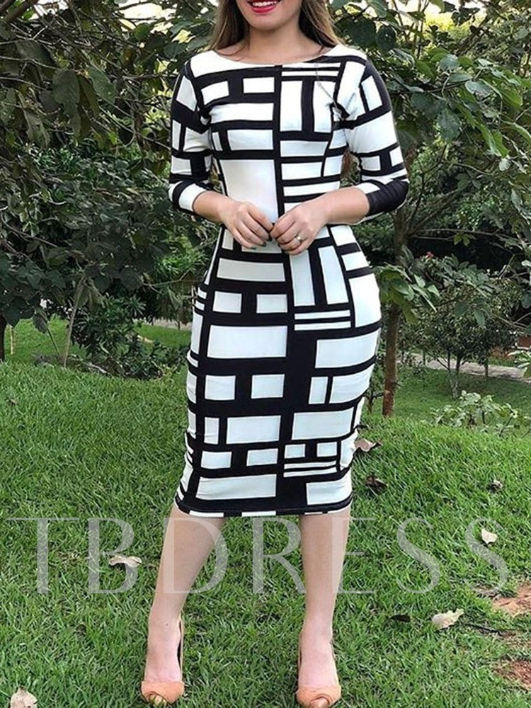 Print Round Neck Three-Quarter Sleeve Mid-Calf Geometric Women's Long Sleeve Dress
