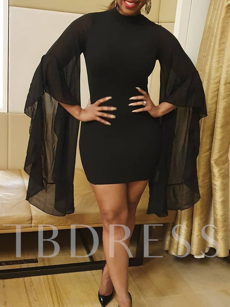 Stand Collar Patchwork Long Sleeve Above Knee Bodycon Women's Long Sleeve Dress