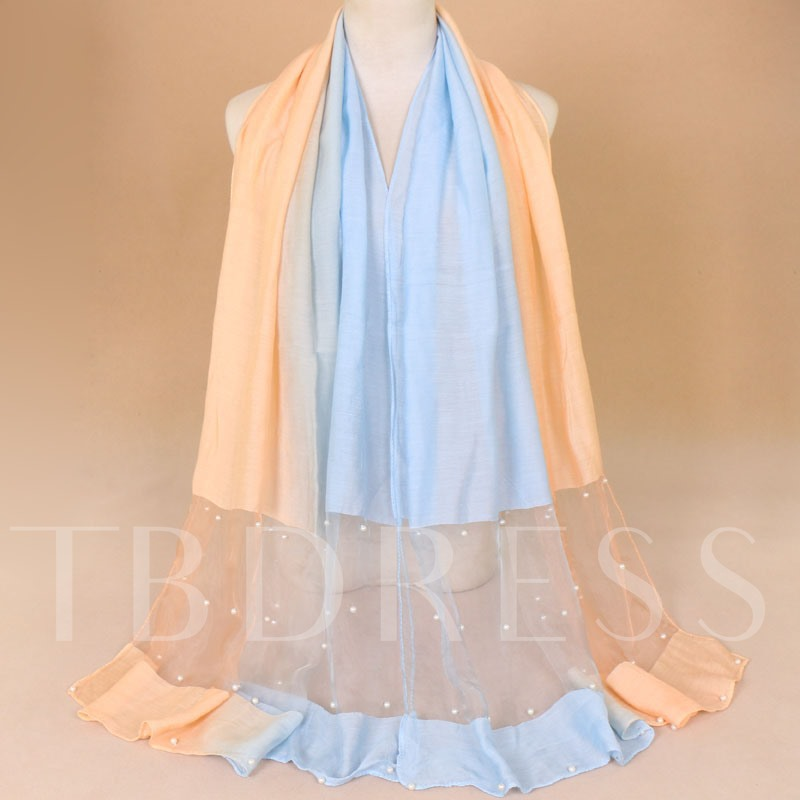 Polyester Casual Bead Color Block Scarves