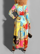 Ankle-Length Polo Neck Print Nine Points Sleeve Pullover Women's Maxi Dress