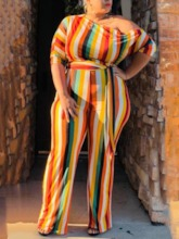 Plus Size Full Length Casual Stripe Slim Women's Jumpsuit