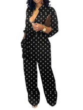 Full Length Polka Dots Casual Slim Women's Jumpsuit
