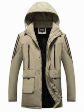 Mid-Length Color Block Patchwork Hooded European Men's Down Jacket