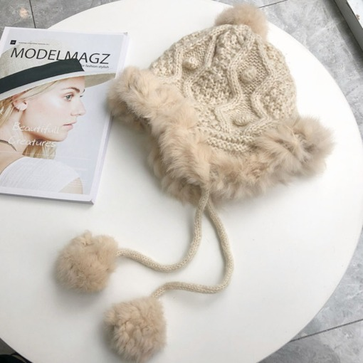 Woolen Yarn Pompon Winter Knitted Hat