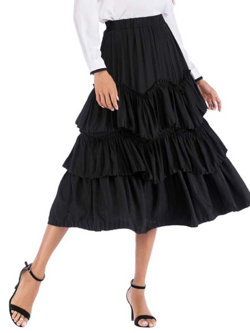 Mid-Calf Plain Pleated Cupcake Women's Skirt