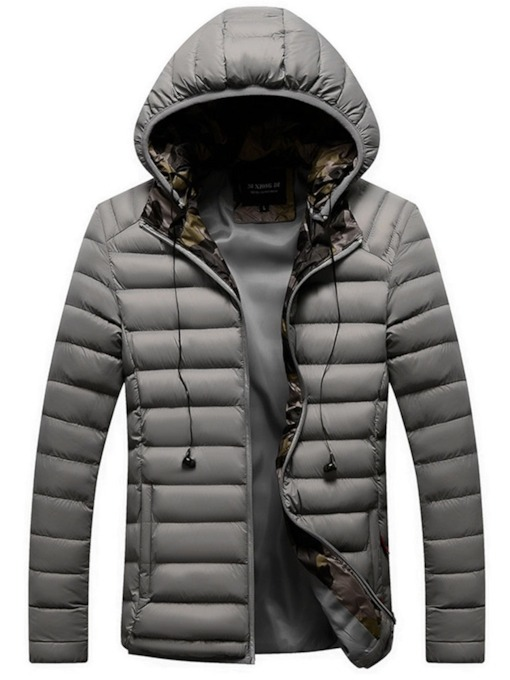 Zipper Standard Hooded Men's Down Jacket