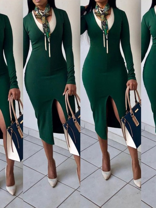 V-Neck Mid-Calf Long Sleeve Split Fashion Women's Long Sleeve Dress