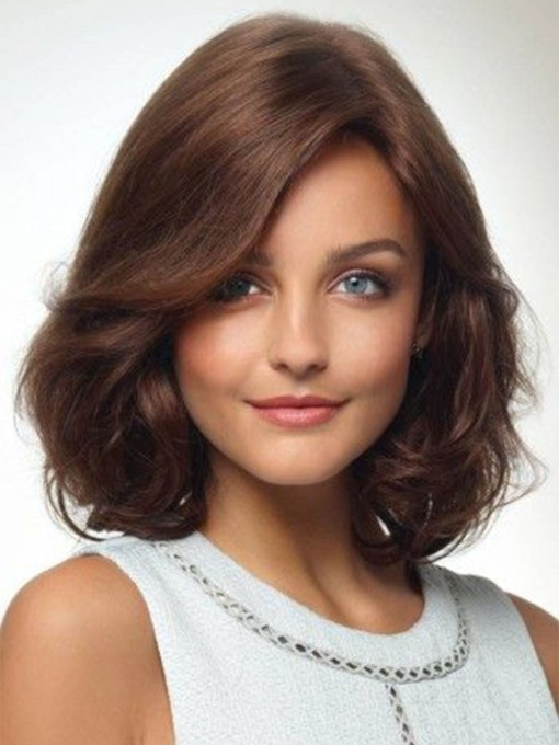 Natural Looking Women's Shoulder Length Heat Resistant Synthetic Hair Wigs Barely Waved Layers Capless Wigs 18Inch