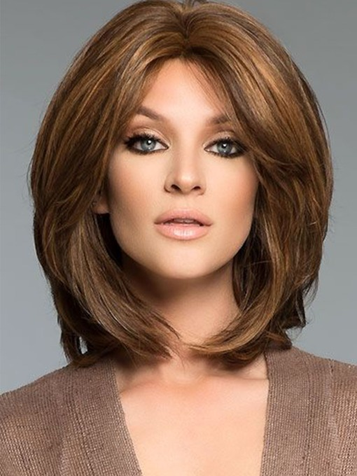Women's Natural Straight Full Hair Mid Part Medium Bob Hairstyles Synthetic Hair Capless Wigs 16Inch