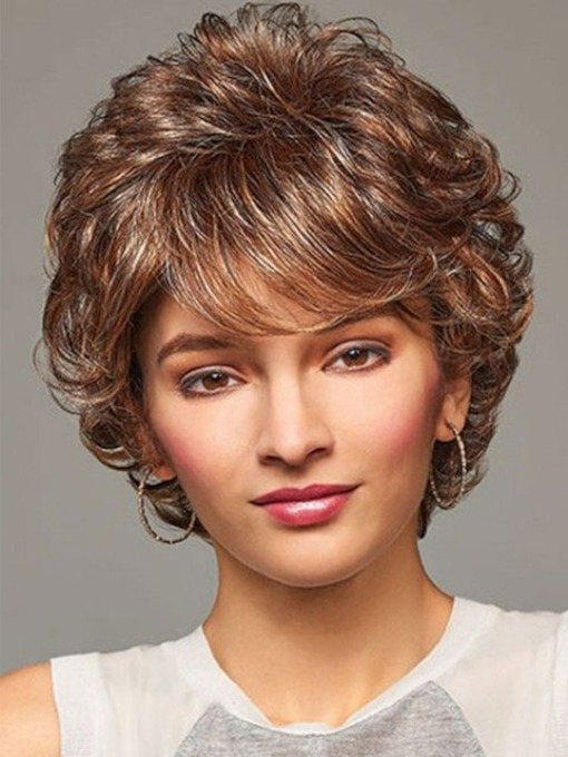 Short Layered Hairstyle Women's Affordable Prices Barely Waved Synthetic Hair Capless Wigs 12Inch