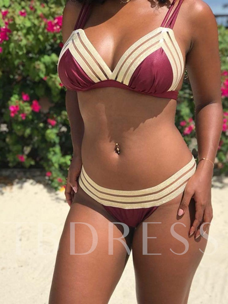 Color Block Patchwork Sexy Women's Swimwear