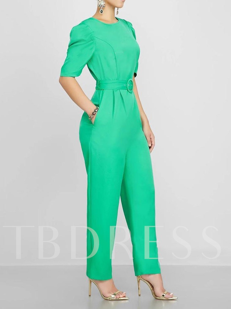 Plain Ankle Length Ladylike Slim Women's Jumpsuit