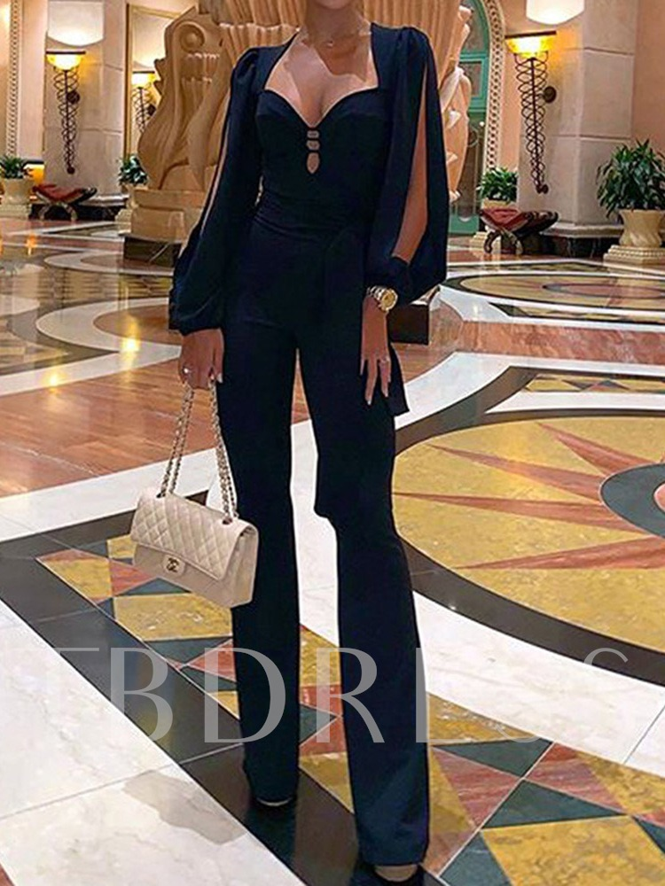 Full Length Plain Ladylike Slim Women's Jumpsuit