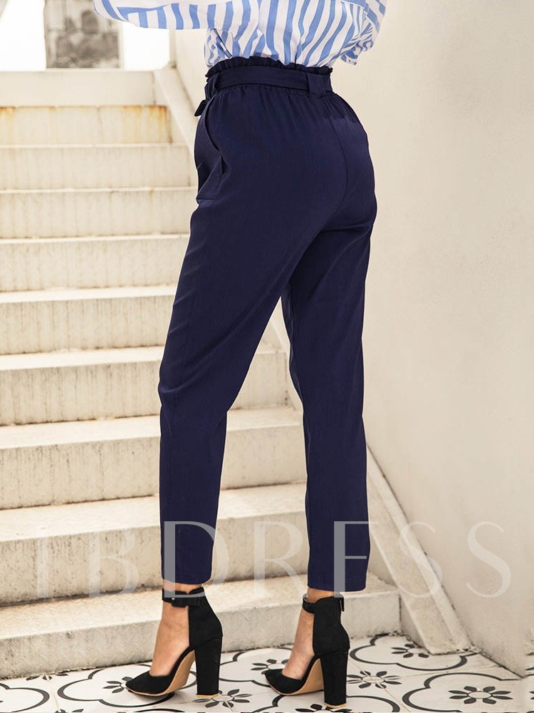 Plain Bowknot Slim High Waist Women's Casual Pants